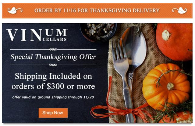 Vinum Cellars Thanksgiving Promo