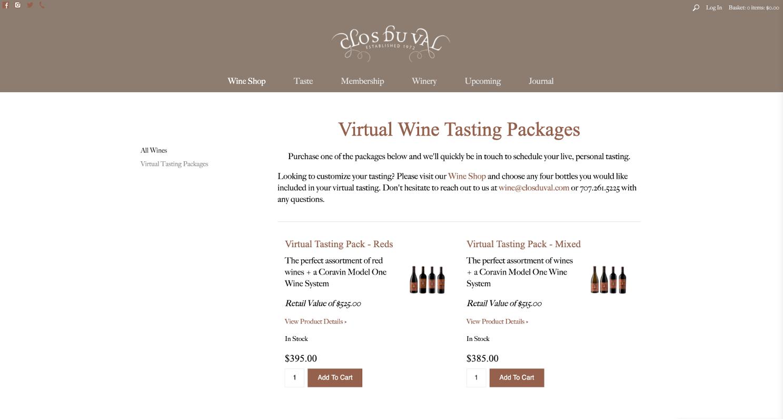 Virtual Tasting Packages