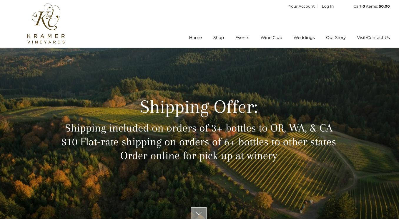 Kramer Vineyards Homepage Shipping Offer